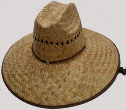 Adults Wide Brim Straw Sun Hat With Chinstrap 50 pack