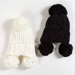 Hat Knitted Cotton Winter 2 Assorted 30 pack