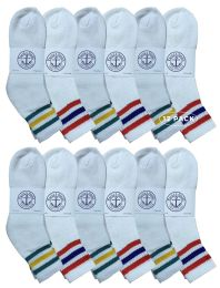 Yacht & Smith Wholesale Bulk Womens Mid Ankle Socks, Cotton Sport Athletic Socks - Size 9-11, (White with Stripes, 12) 12 pack