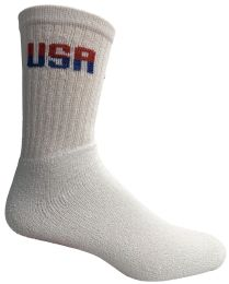 Yacht & Smith Men's Usa White Crew Socks Size 10-13 Bulk Buy 240 pack