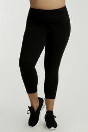 SOFRA LADIES COTTON CAPRI LEGGINGS PLUS SIZE BLACK 36 pack