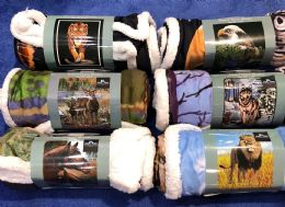 "Amalfi Sherpa Animal Throw Blanket 50""x60"" 18 pack"