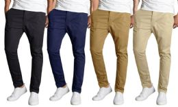 Men's Slim-Fit Cotton Stretch Chino Pants Assorted Colors Bulk Buy 12 pack