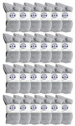 Yacht & Smith Wholesale Kids Crew Socks, With Free Shipping , Sock Size 6-8 (gray) 24 pack