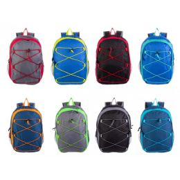 "17"" Bungee Wholesale Backpacks in 8 Assorted Colors 24 pack"