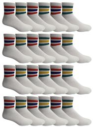 24 Pairs Of Yacht & Smith Wholesale Bulk Womens Mid Ankle Socks, Cotton Sport Athletic Socks - Size 9-11 (White with Stripes) 24 pack