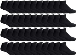 Yacht & Smith Men's Wholesale Bulk No Show Ankle Socks,With Free Shipping - Size 10-13 (Black) 48 pack