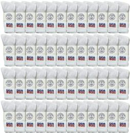 Yacht & Smith Men's Wholesale Bulk Cotton Socks, With Free Shipping Size 10-13 (white Usa) 48 pack