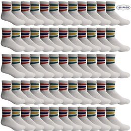 Yacht & Smith Wholesale Bulk Women's Mid Ankle Socks, With Free Shipping - Size 9-11 (White with Stripes) 120 pack