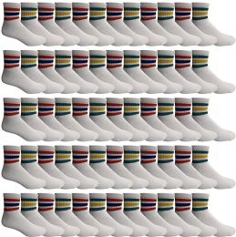 Yacht & Smith Wholesale Bulk Women's Mid Ankle Socks, With Free Shipping - Size 9-11 (White with Stripes) 60 pack