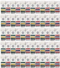 Yacht & Smith Wholesale Kids Tube Socks,With Free Shipping Size 4-6 (White w/Stripes) 72 pack