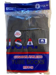 USA Men's Sport Tube Socks, Referee Style, Size 9-15 Solid Black 120 pack