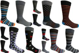 Mens Dress Socks Value Deal Mix Prints, Stripes and Solid Colors Size 10-13 120 pack
