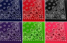 Assorted Cotton Bandana Mixed Prints, Mixed Colors 60 pack