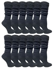 Yacht & Smith Slouch Socks For Women, Solid Black Size 9-11 - Womens Crew Sock	 36 pack