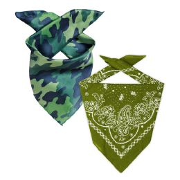 Camo And Olive Green 22x22 Inch Cotton Bandanna 2 Colors Only 144 pack