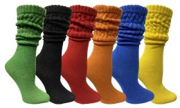 Yacht & Smith Womens Cotton Slouch Socks, Womans Knee High Boot Socks (Assorted, 6 Pack) 6 pack