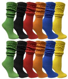 Yacht & Smith Womens Cotton Slouch Socks, Womans Knee High Boot Socks (12 Pack Assorted) 12 pack