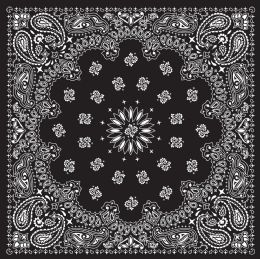 Yacht & Smith 22 X 22 Inch Cotton Bandanna In Black Paisley Free Shipping