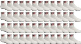 48 PACK Yacht & Smith Kids Cotton White USA Ankle Socks Size 6-8 Wholesale Bulk Packs 48 pack