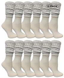 Yacht & Smith Womens Cotton Slouch Socks, Womans Knee High Boot Socks (white, 12 Pack) 12 pack