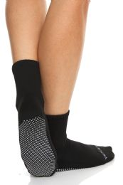 Yacht & Smith Black Rubber Grip Bottom Loose Fit Slipper Sock Size 9-11 60 pack