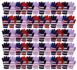 Yacht & Smith Womens Warm Assorted Colors Striped Fuzzy Gloves 72 pack
