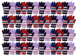 Yacht & Smith Womens Warm Assorted Colors Striped Fuzzy Gloves 48 pack