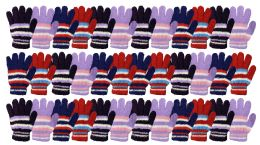 Yacht & Smith Womens Warm Assorted Colors Striped Fuzzy Gloves 36 pack
