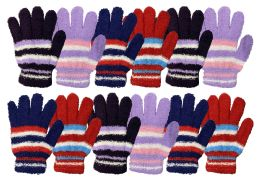 Yacht & Smith Womens Warm Assorted Colors Striped Fuzzy Gloves 12 pack