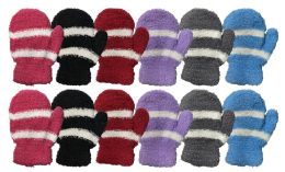 Yacht & Smith Kids Striped Fuzzy Winter Mittens Gloves Ages 2-7 12 pack