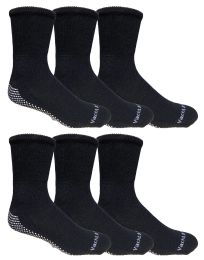 Yacht & Smith Mens Loose Fit Gripper Bottom NoN-Skid Slipper Socks ,yoga, Trampoline Socks Solid Black 6 pack
