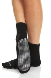 Yacht & Smith Womens Loose Fit Gripper Bottom NoN-Skid Slipper Socks ,yoga, Trampoline Socks Solid Black, Size 9-11