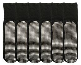 Yacht & Smith Womens Loose Fit Gripper Bottom NoN-Skid Slipper Socks ,yoga, Trampoline Socks Solid Black, Size 9-11 6 pack