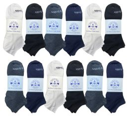 Yacht & Smith Mens Cotton Low Cut No Show Loafer Socks Size 10-13 Solid Assorted 48 pack