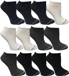 Yacht & Smith Womens 97% Cotton Light Weight No Show Ankle Socks Solid Assorted Colors 12 pack