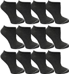 Yacht & Smith Womens 97% Cotton Light Weight No Show Ankle Socks Solid Dark Heather Gray 12 pack