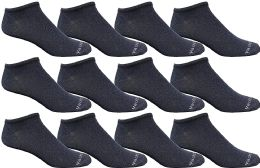 Yacht & Smith Mens 97% Cotton Light Weight No Show Ankle Socks Solid Navy 12 pack