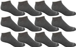Yacht & Smith Mens 97% Cotton Light Weight No Show Ankle Socks Solid Gray 12 pack