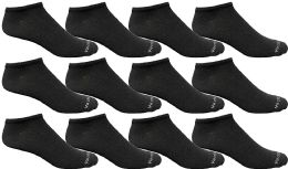 Yacht & Smith Mens 97% Cotton Light Weight No Show Ankle Socks Solid Black 12 pack