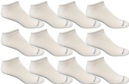 Yacht & Smith Mens 97% Cotton Light Weight No Show Ankle Socks Solid White 12 pack