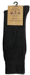 Yacht & Smith Mens Classic Combed Cotton Black Ribbed Dress Socks