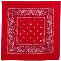 Yacht & Smith 22x22 Inch Cotton Red Paisley Bandanna