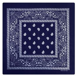 Yacht & Smith 22 X 22 Inch Cotton Bandanna In Navy Paisley 36 pack