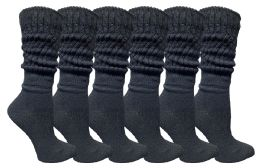 Yacht & Smith Women's Slouch Socks Size 9-11 Solid Black Color Boot Socks 6 pack
