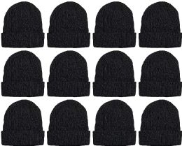 Yacht & Smith Sherpa Lined Winter Beanie in Solid Black (Assorted, 12 Pack) 12 pack