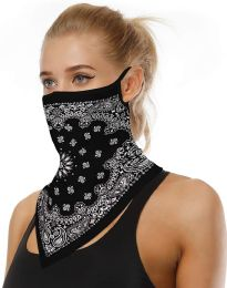 Assorted Printed Neck Gaiter Scarf Shield Bandana With Ear Loops Face Cover Balaclava for Dust Masks 12 pack