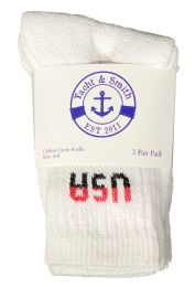 Yacht & Smith Kids Premium Cotton USA Crew Socks White Sock Size 4-6 60 pack