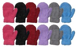 Yacht & Smith Kids Fuzzy Stretch Mittens With Glittery Shine Ages 2-7 12 pack