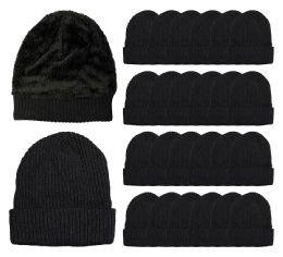 Yacht & Smith Unisex Black Stretch Ribbed Sherpa Beanie, Super Warm Winter Beanie 24 pack